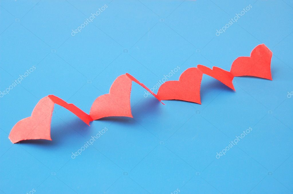 Isolated red hearts showing a concept of love — Stockfoto #3374636
