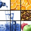 Food and drink collage - Foto Stock