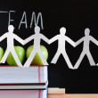 Stock Photo: Teamwork and chalkboard