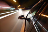 Night drive with car in motion — Foto Stock