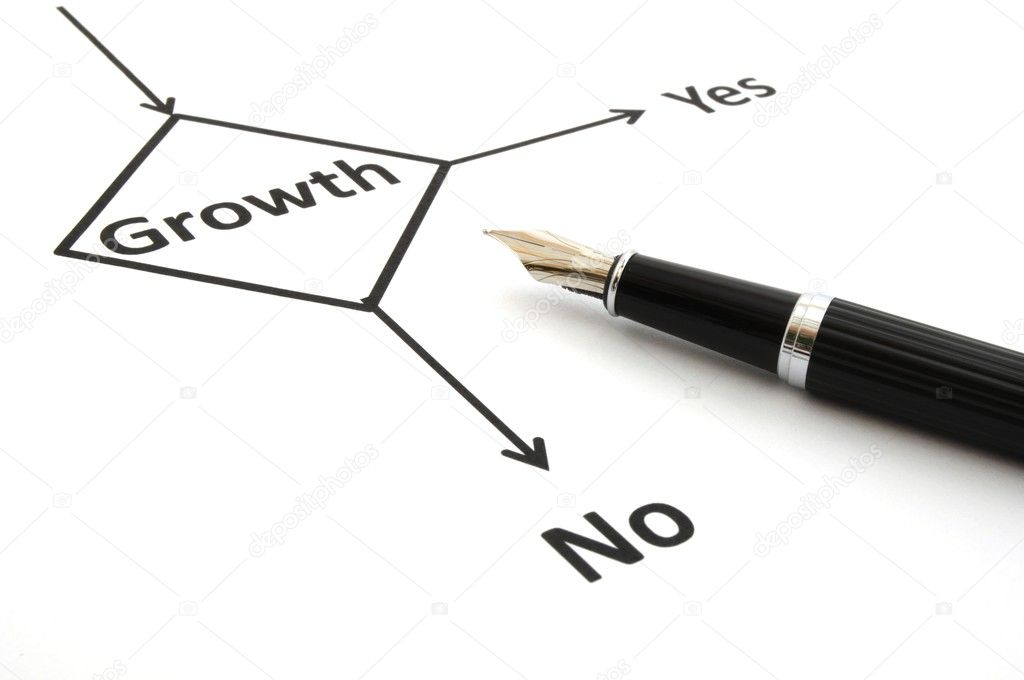 Business or finance concept with word growth in flow chart — Stock Photo #3440745