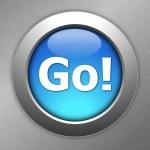 Blue go button — Stock Photo