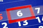 Kalendarz czerwony i niebieski — Zdjęcie stockowe
