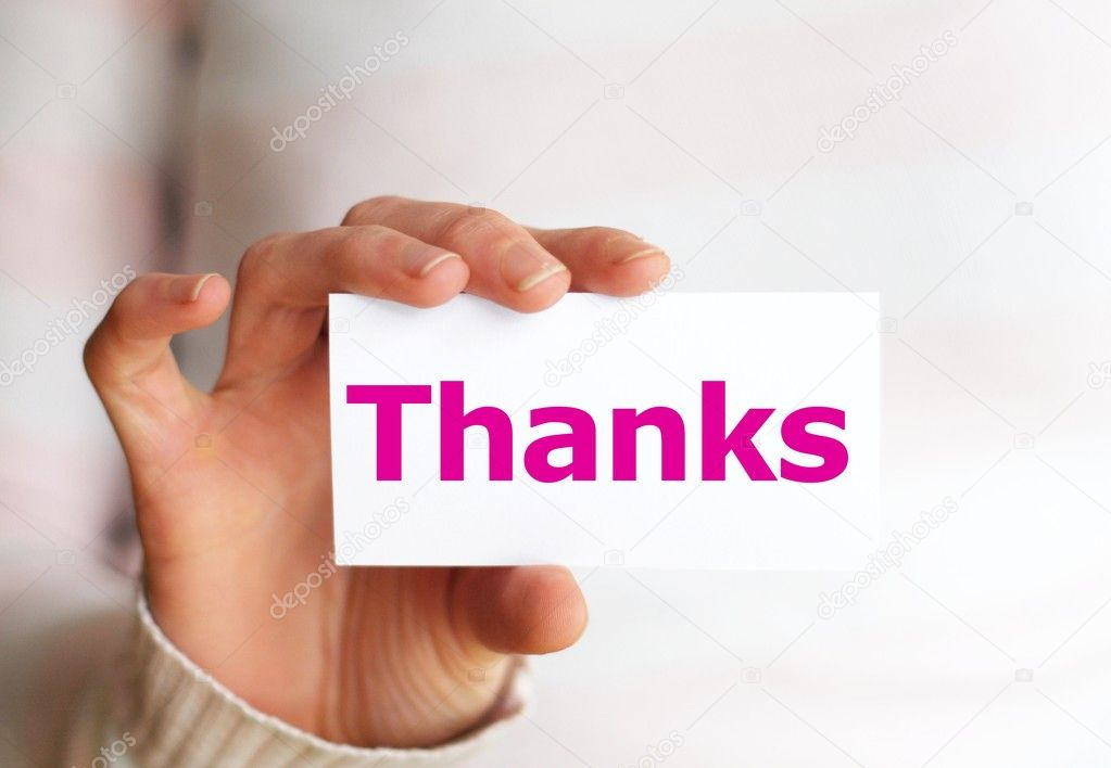 Thank you or thanks concept with hand word and paper — Stok fotoğraf #3483062