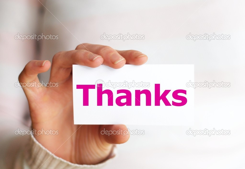 Thank you or thanks concept with hand word and paper — Foto Stock #3483062