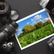 dslr camera and image — Stock Photo