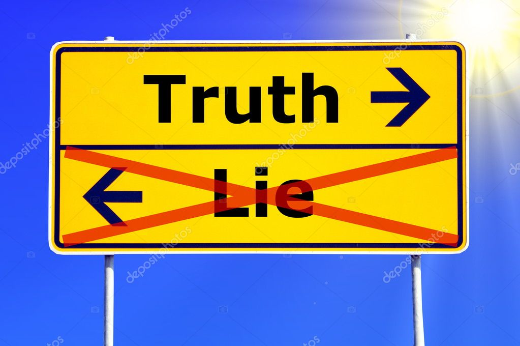 Truth or lie concept with yellow road sign                                     Foto Stock #3565028