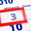 3 calendar day — Stock Photo