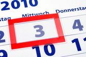 3 kalendářní den — Stock fotografie