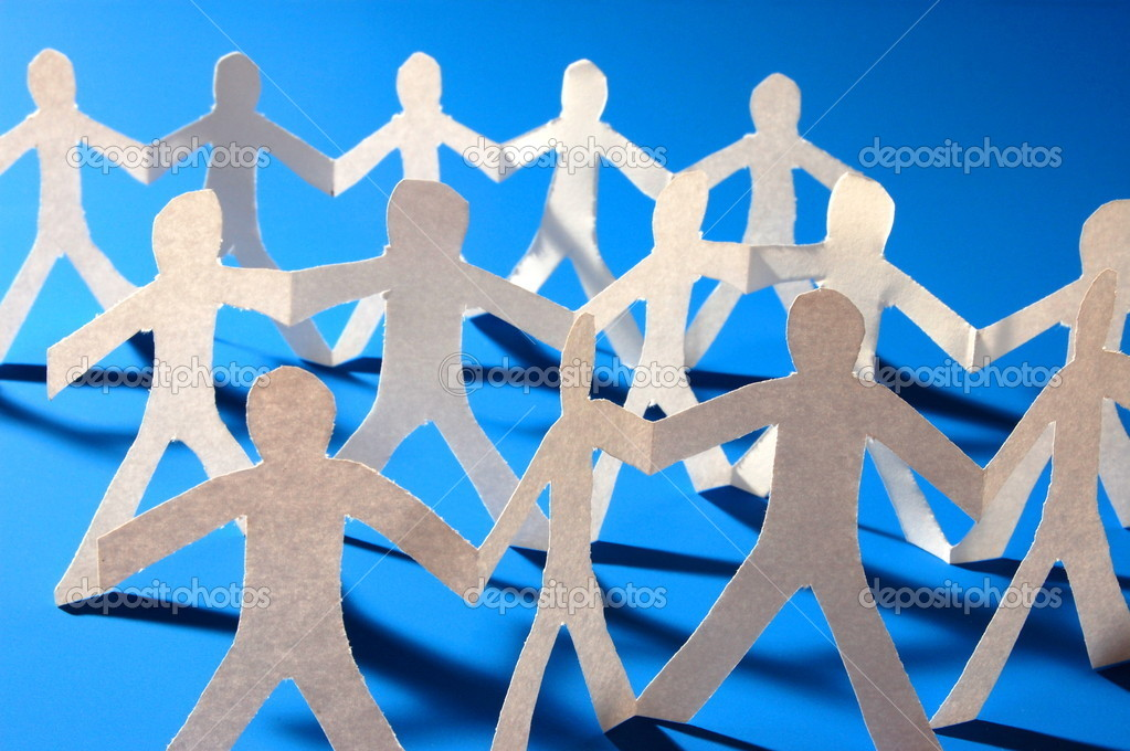 Team of paper having a party — Stock Photo #3636937