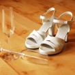 Sexy high heel and champagne glass — Stock Photo #3683332