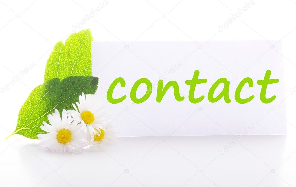 Contact us concept with word on nature still life  Stock Photo #3682360