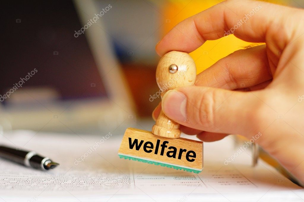 Social welfare concept with stamp in office or bureau and copyspace — Stock Photo #3705275