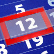 Red and blue calendar — Stock Photo