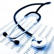 Stethoscope and data — Stock Photo