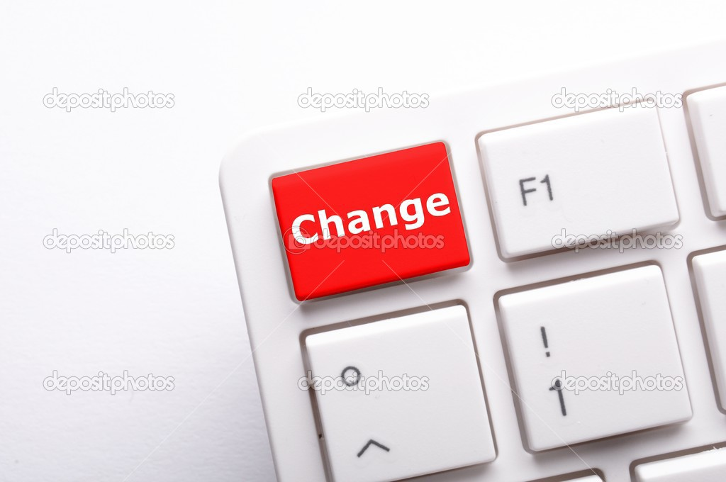 Change concept with key on keyboard showing business success — Stock Photo #3810659