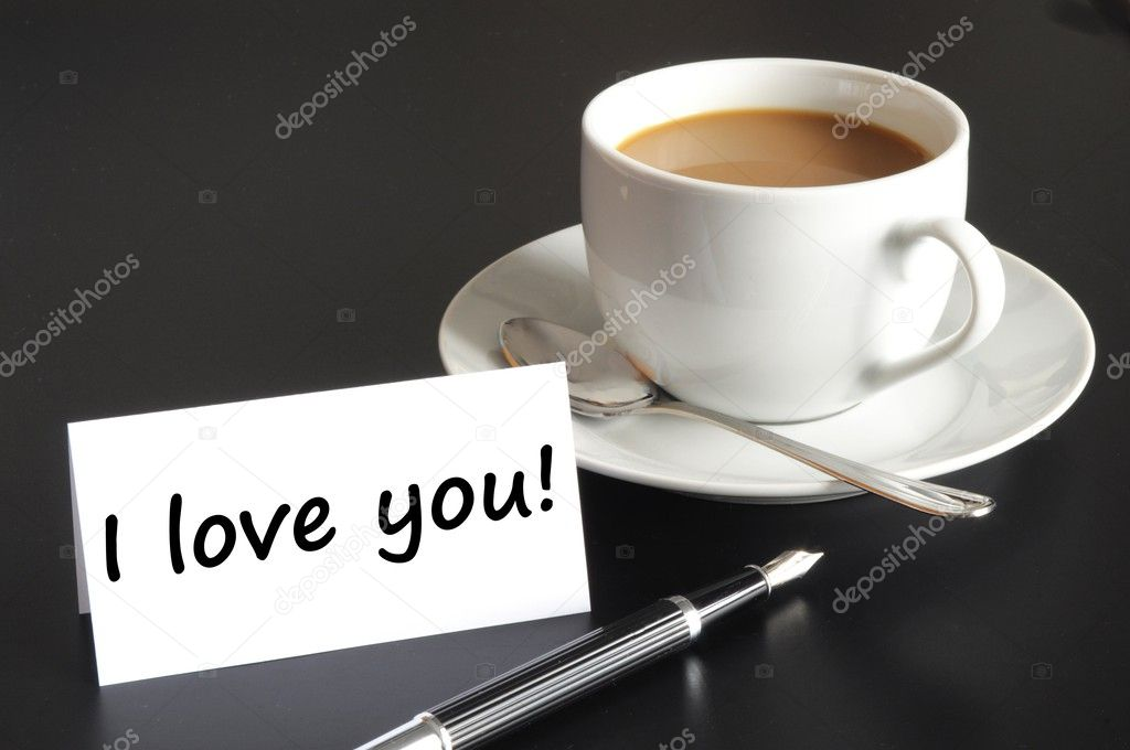I love you message and coffe on the morning at breakfast — Stock Photo #3870037