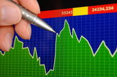 Datorskärm med affärsdata — Stockfoto