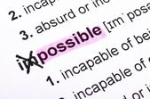 Possible concept with word impossible in dictionary — Stock Photo