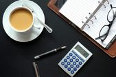 Coffee pen phone and paper — Stock Photo