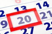 20 calendar day — Stock Photo