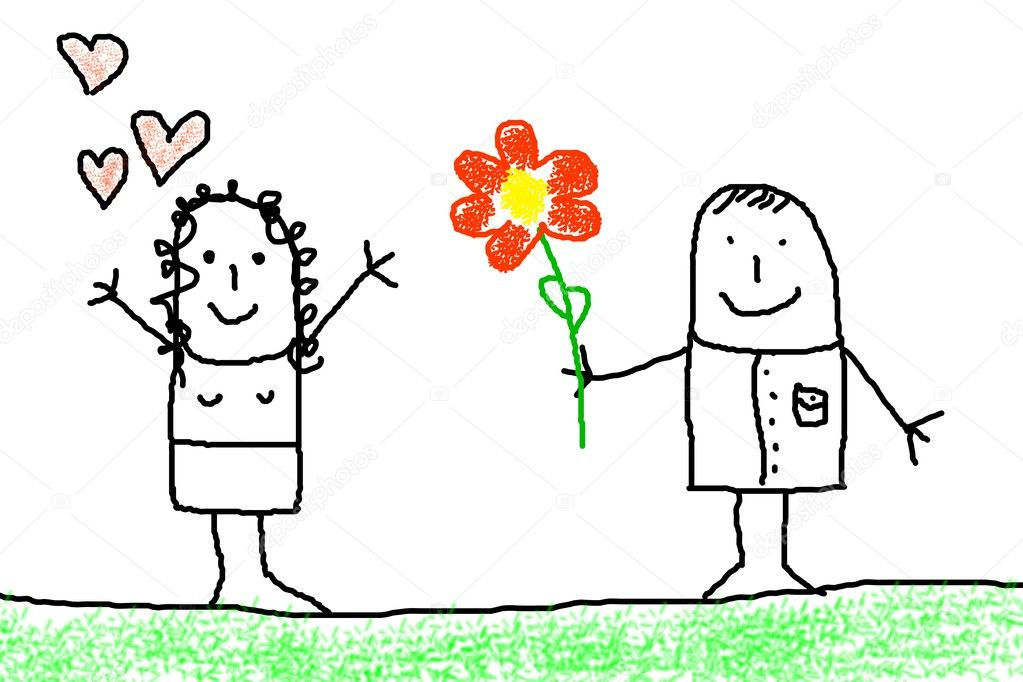 Illustration of love concept with flower and figure  Stock Photo #4065168