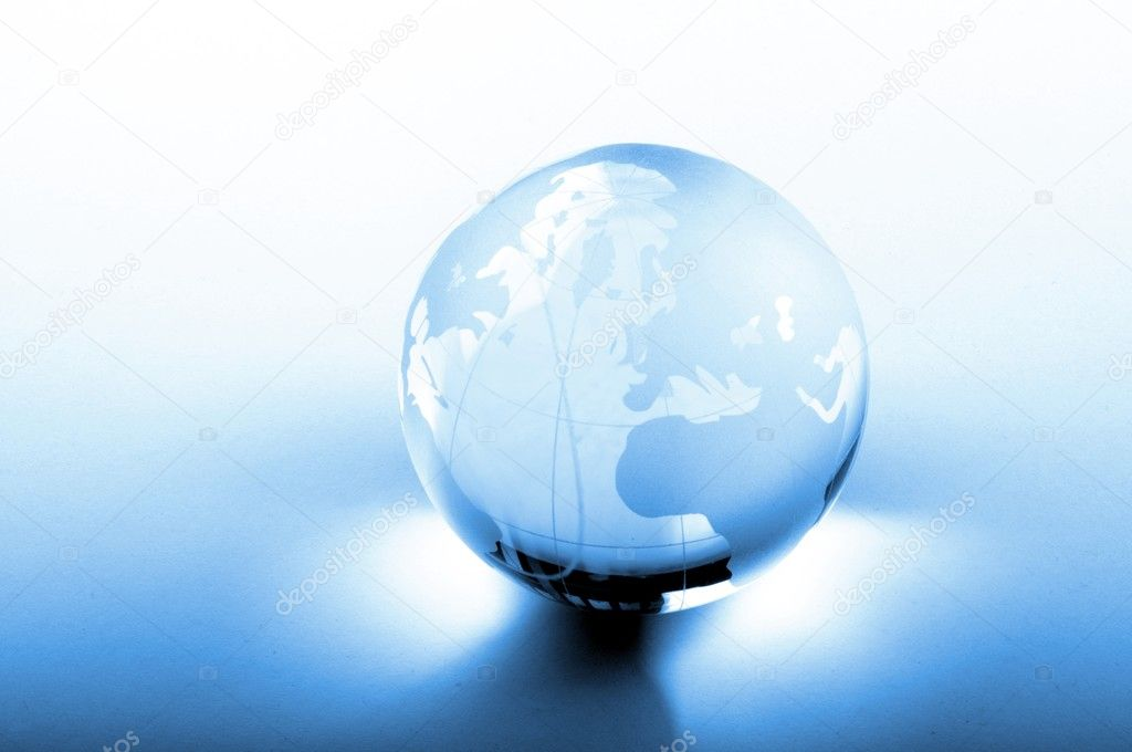 Global business concept with glass planet and copyspace — Stock Photo #4198501