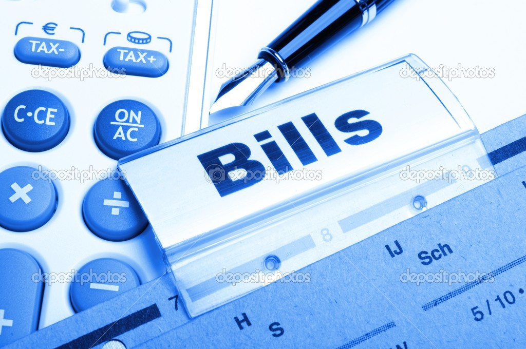 Bill or bills word on paper riders showing payment or debts concept   Stock Photo #4200680