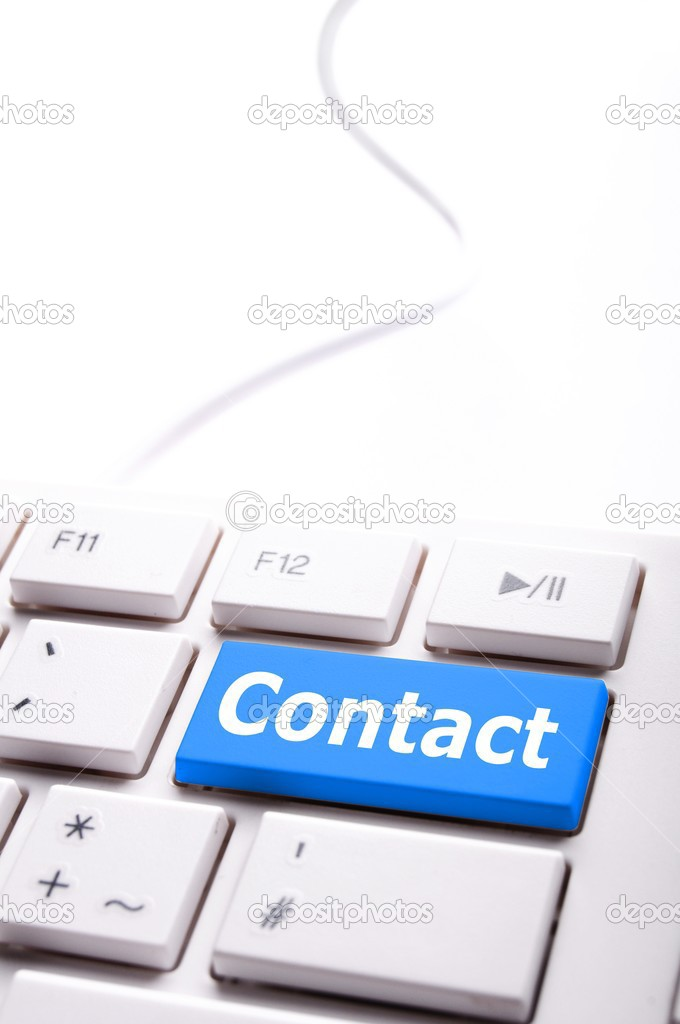 Contact us word on computer keyboard key showing business communication  — Foto de Stock   #4203905