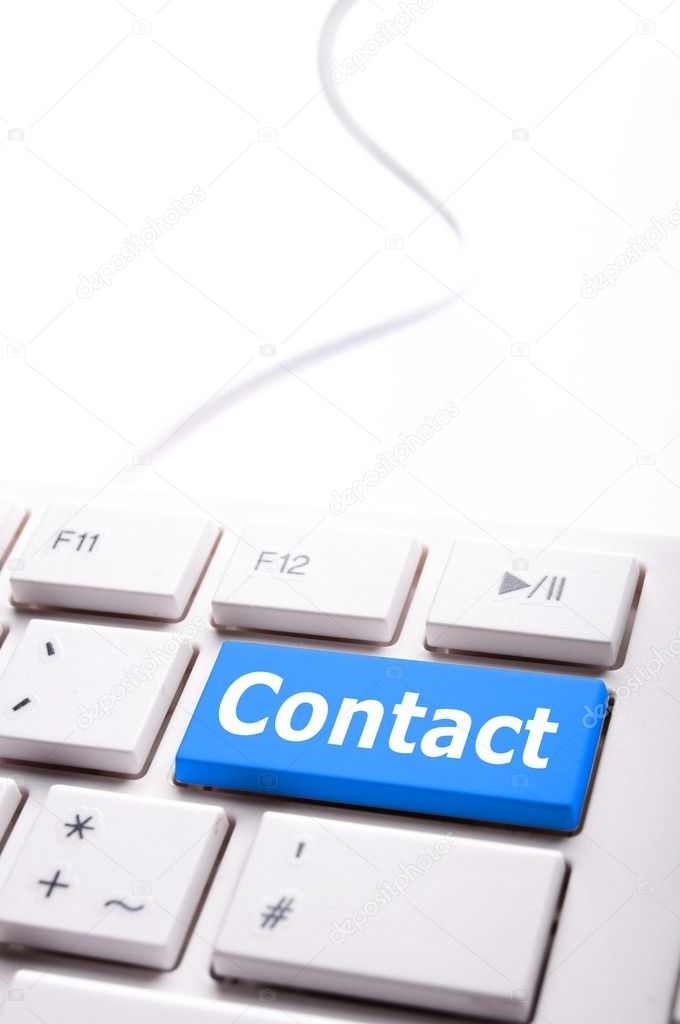 Contact us word on computer keyboard key showing business communication  — 图库照片 #4203905
