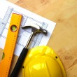 Hard hat and tool — Stock Photo #4245251