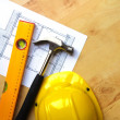 Stock Photo: Hard hat and tool