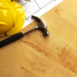 Hard hat and tool — Stock Photo