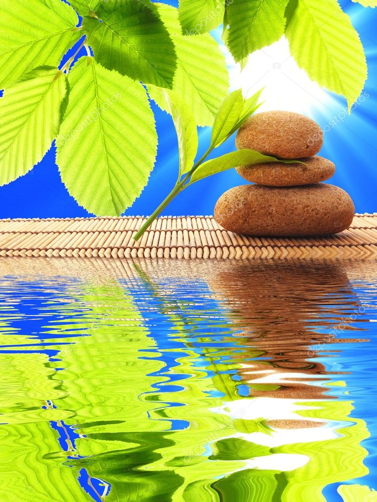 Spa zen or summer concept with stone and water  Stock Photo #4356433