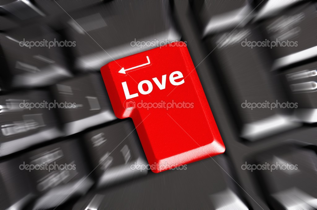 Love on key or keyboard showing internet dating concept — Stock Photo #4559649