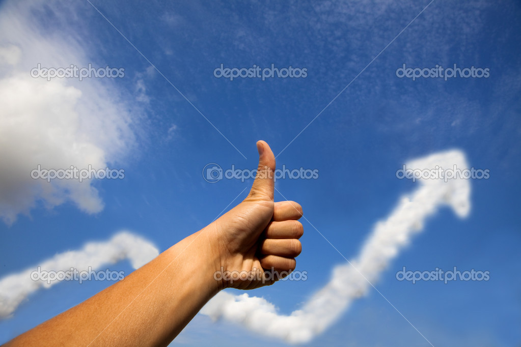 Thumb up for business success profit graph by clouds  Stock Photo #2985559