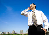 Chinese Businessman On Cell Phone — Stock Photo