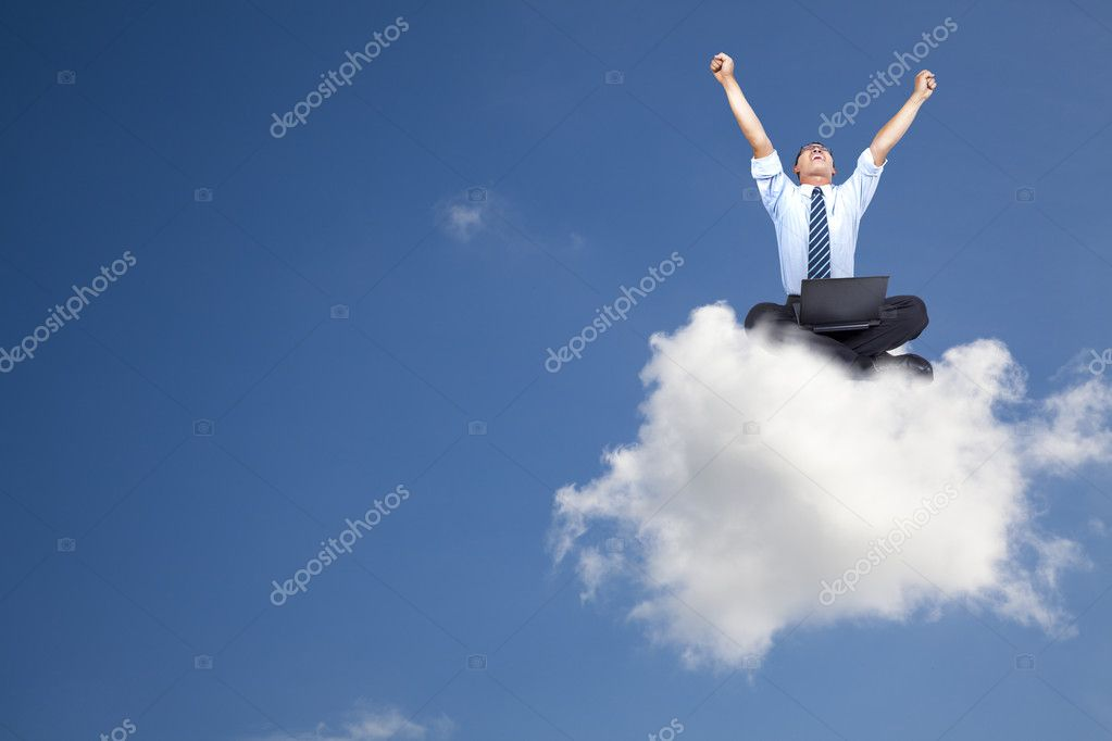 Young businessman with computer sitting on the cloud — Lizenzfreies Foto #3521725