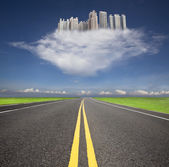 Road to the cloud city — Stock Photo