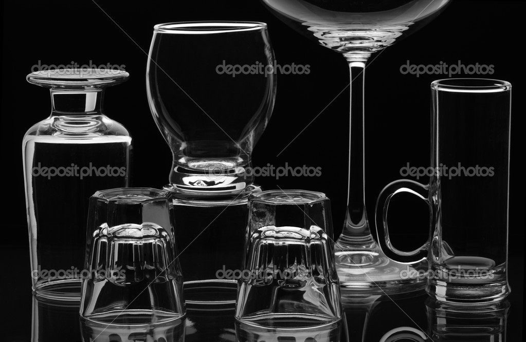 Different kind of glasses on a black background  — Stock Photo #3016370