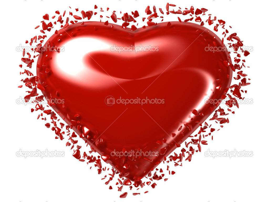 A Red Heart white isolations  Stock Photo #3237671