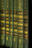 The green and gold book on the shelf — ストック写真