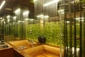Interior of a bathroom with the grass — Stock Photo