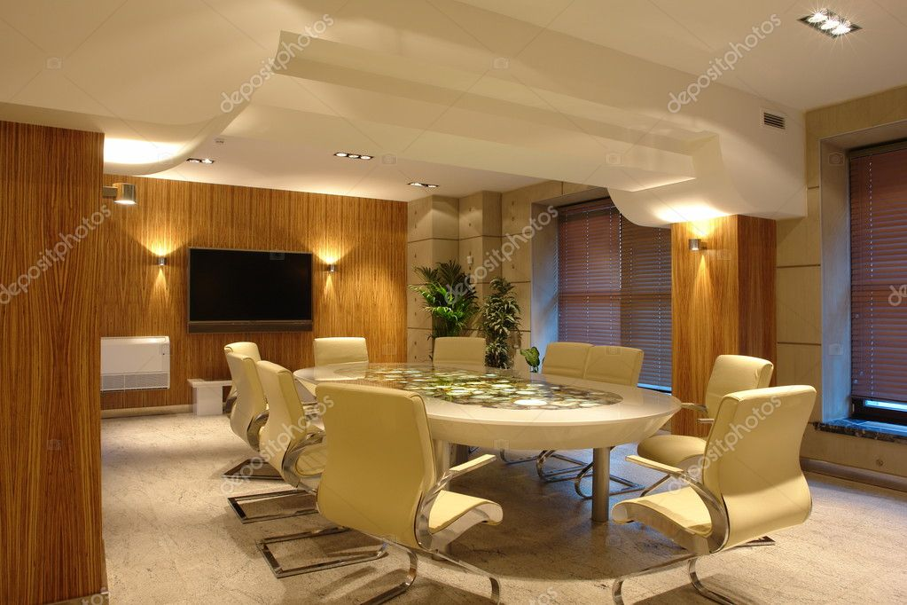 Big meeting room in bright office — Foto Stock #3092157
