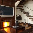 Interior of a living room with fireplace — ストック写真