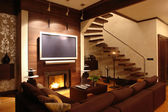 Interior of a living room with fireplace — Stock Photo