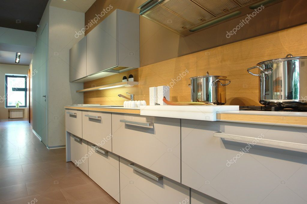 White kitchen in perspective  — Stock Photo #3133253