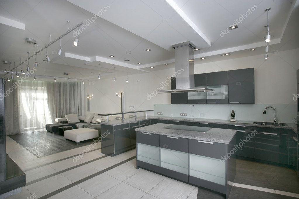 Moderne keuken en woonkamer stockfoto photosphobos 3168497 - Woonkamer en moderne keuken ...