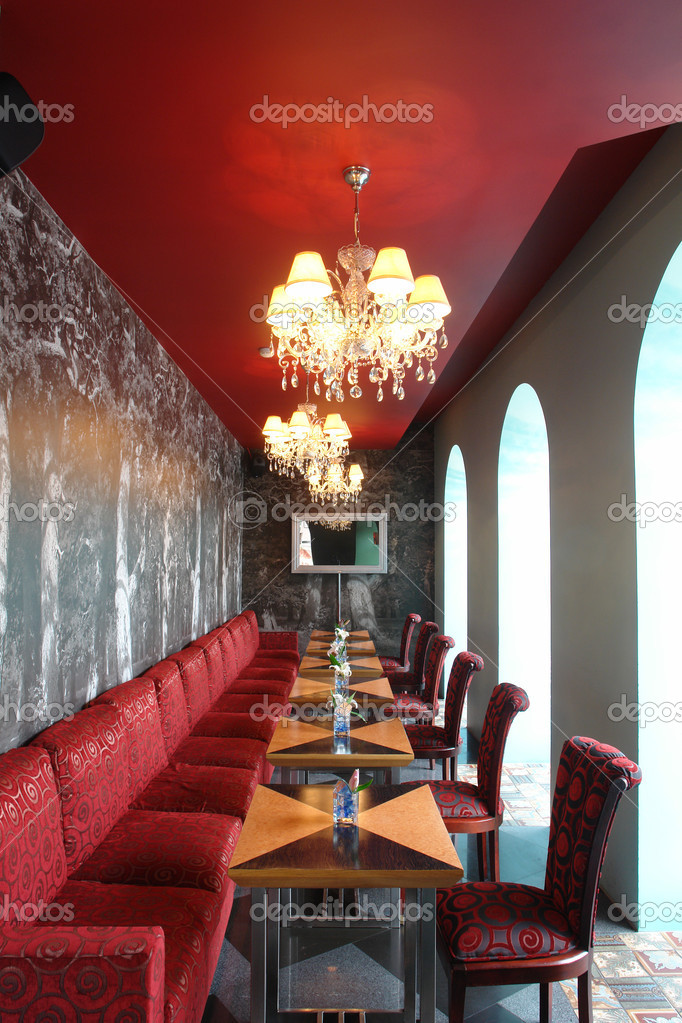 Interior of restaurant in red color — stock photo