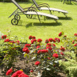 Deck chair in a green garden — Stock Photo